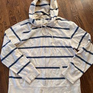 J Crew Men's Ringspun Striped Zip Hoodie